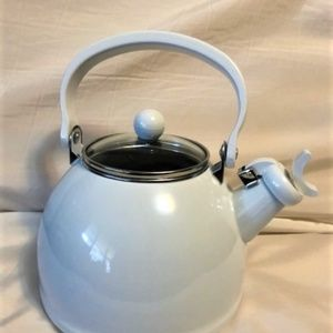 New White Whistling Stainless Steel Tea Kettle